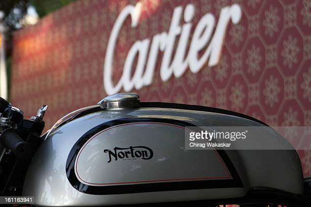 Details of the tank of Norton motorcylce is displayed during Cartier 'Travel With Style' Concours 2013 Opening at Taj Lands End on February 9 2013 in...