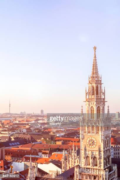 details of the tower of the new town hall in munich - munich, bavaria, germany - marienplatz stock pictures, royalty-free photos & images