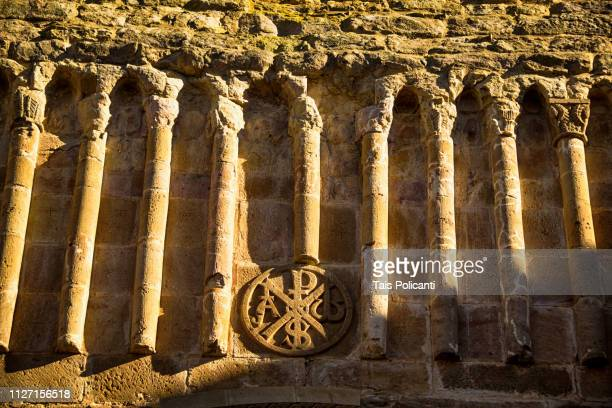 details of the veruela's monastery (el monasterio de santa maria de veruela) façade - aragon, spain - cloister stock pictures, royalty-free photos & images