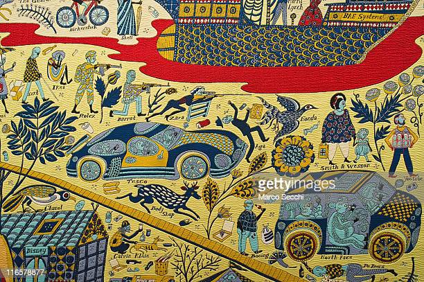 Details of 'The Wolthamstow Tapestry 2009' a 15mt long tapestry by Grayson Perry on June 16 2011 in Venice Italy 'Penelope's Labour Weaving Words and...