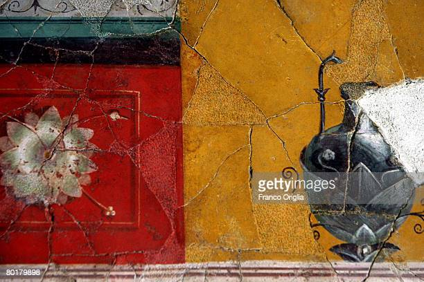 Details on the frescoed wall in the studiolo are seen in the Palace Of Augustus during the re-opening of the renovated palace of ancient Rome's first...