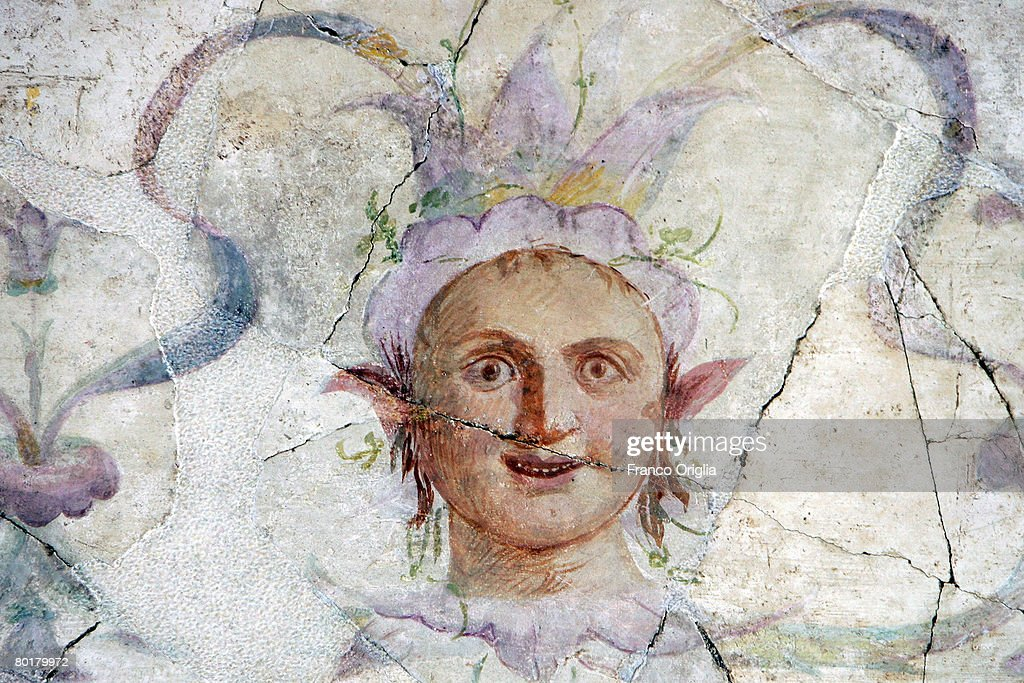 Details on the frescoed wall in the studiolo are seen in the Palace Of Augustus during the re-opening of the renovated palace of ancient Rome's first Emperor, March 9, 2008 in Rome, Italy.