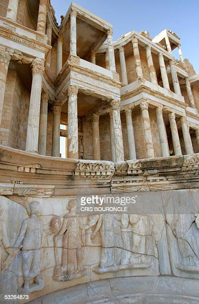 Details on the stage of the amphitheatre of Sabratha considered as the most complete in the world as it stands in the ruins of the Roman citadel of...