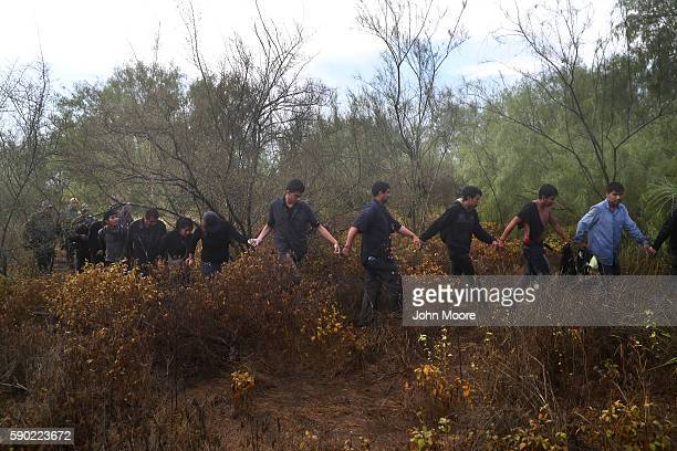 Detained immigrants are led through the brush after being captured by US Border Patrol agents on August 16 2016 in Roma Texas Border security has...
