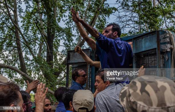 Detained Kashmir government employees shout anti government slogans during a protest against the government on July 17 2018 in Srinagar the summer...