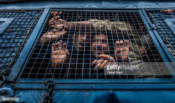 Detained supporters of Engineer Sheikh Abdul Rashid an Indian politician and Member of Legislative Assembly and patron of Awami Ithaad Party a...