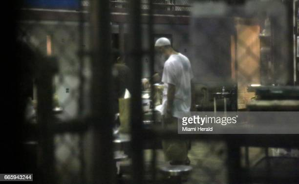 A detainee stands in the common area of the cell block on February 11 at Camp Six at Guantanamo's Detention Center Zone The military approved release...