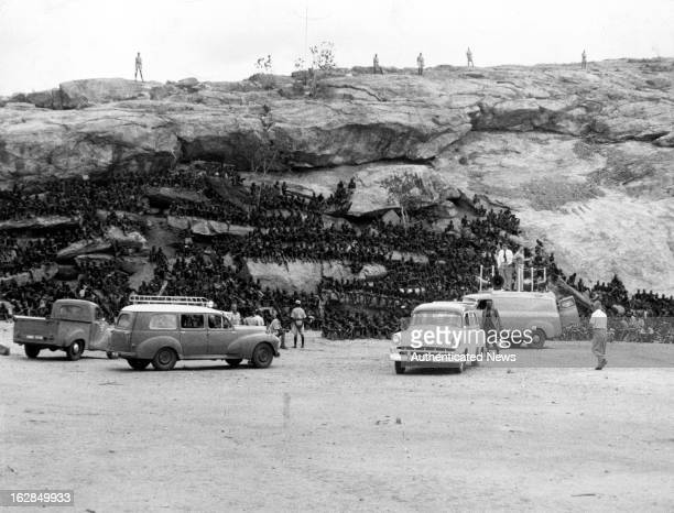 Detainees work at quarries outside camp at Manyani Kenya 1955