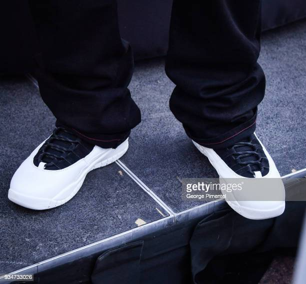 A detait of DJ Khaled's shoes at Weight Watchers Kitchen Tour Special Surprise at Roundhouse Park on March 19 2018 in Toronto Canada