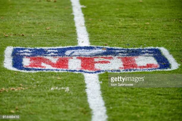 A detaled view of the NFL crest logo is seen on the field during the NFL football game between the San Francisco 49ers and the Philadelphia Eagles on...