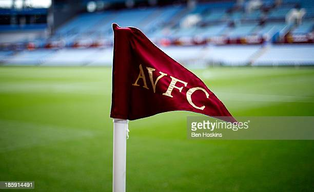 A detalied view of a corner flag prior to the Barclays Premier League match between Aston Villa and Everton at Villa Park on October 26 2013 in...