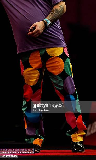 Detalied view of the trousers of Peter Wright of Scotland as he throws during his semi final match against Simon Whitlock of Australia on day fifteen...
