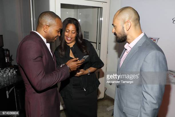 Detavio Samuels Michelle Rice and Jeff Meza attend the Cadillac Welcome Luncheon At ABFF Black Hollywood Now at The Temple House on June 13 2018 in...