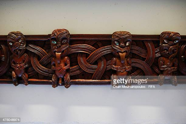 A deteailed view of the players tunnel traditional Maori art with Kamate Kamate Kaora Kaora carved into it prior to the FIFA U20 World Cup New...