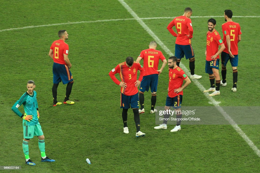 A detected Spain console one another after they are knocked out of the tournament on penalties during the 2018 FIFA World Cup Russia Round of 16 match between Spain and Russia at the Luzhniki Stadium on July 1, 2018 in Moscow, Russia.