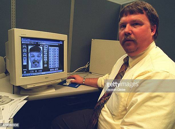 Detective Bruce Dolloff with the computer program that will replace sketch artists at MBTA Police headquarters
