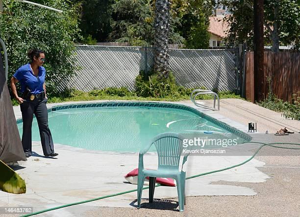 Detective Carla McCullough with Rialto Police investigates the death of Rodney King who was found in his pool on June 17 2012 in Rialto California...