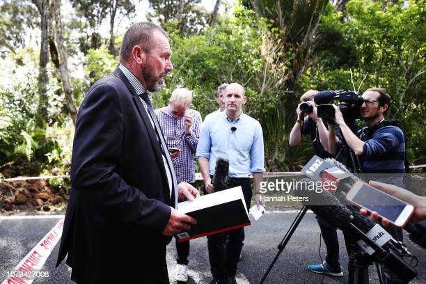 Detective Inspector Scott Beard speaks at the scene where the body of British tourist Grace Millane has been found by New Zealand police in the...