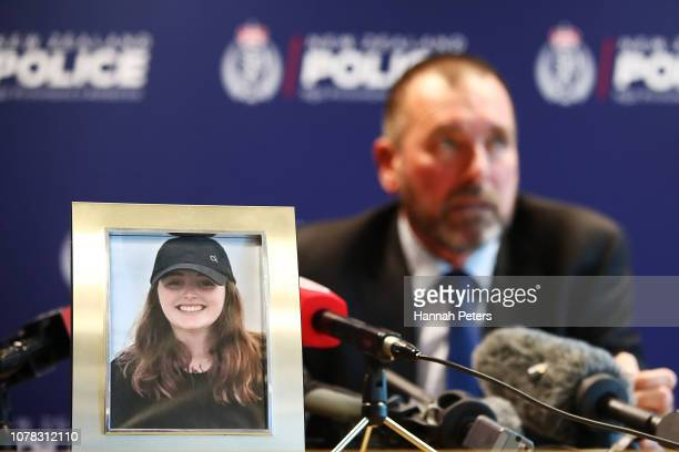 Detective Inspector Scott Beard speaks to the media as a photo of missing British woman Grace Millane is displayed on December 07 2018 in Auckland...