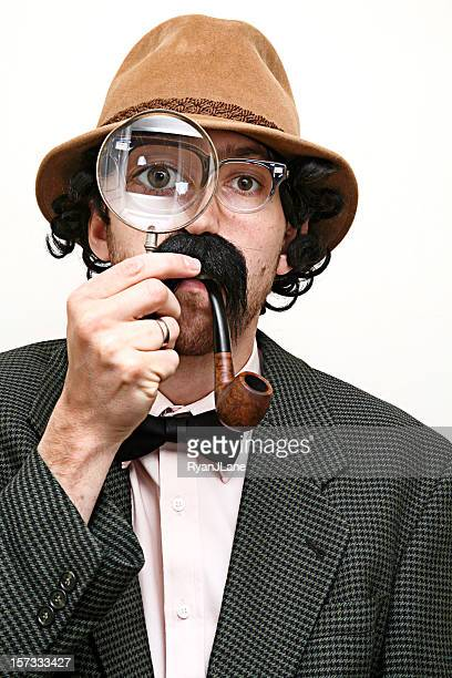 Detective Inspector With Mustache, Pipe, & Magnifying Glass