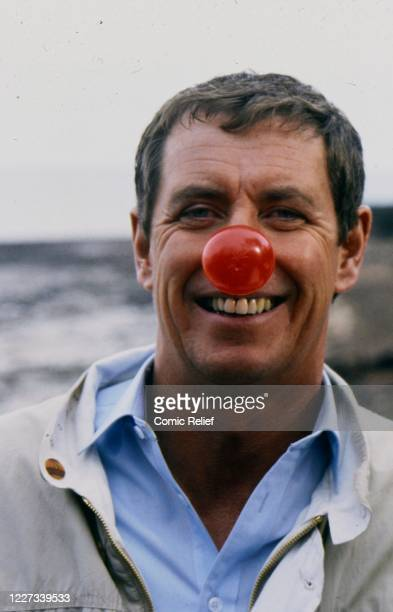 Detective John Nettles wears the Red Nose of 1989 in 1989, England.