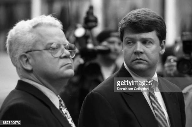 Detective Laurence Powell with his father at the Edward C Roybal Federal Building during his trial for violating Rodney King's civil rights in...