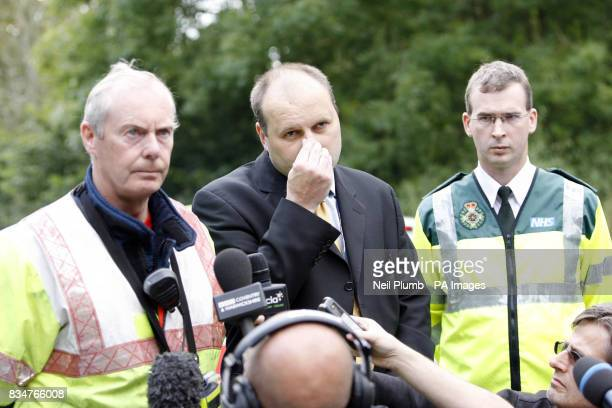 Detective Superintendant Adrian McGee of Warwickshire Police speaks to the media as police block the road leading to Coombe Abbey near Coventry...