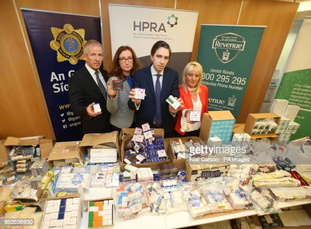 Detective Superintendent Ashley O'Sullivan Dr Lorraine Nolan chief executive of the Health Products Regulatory Authority Heath Minister Simon Harris...