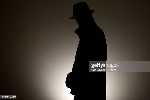 detective wearing hat against wall in room - detective stock pictures, royalty-free photos & images