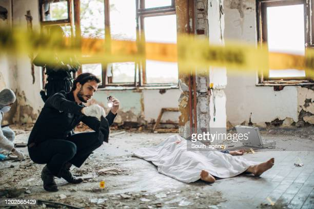 detectives and forensic on a murder scene - murder victim stock pictures, royalty-free photos & images