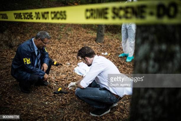 Detectives collecting evidence