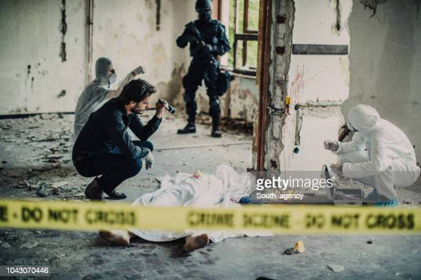 detectives solving murder - blood photos stock pictures, royalty-free photos & images