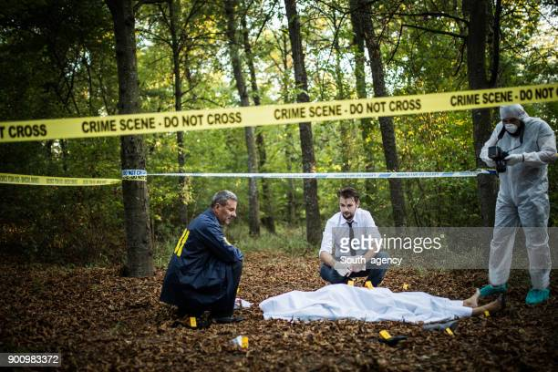 Detectives working on a crime