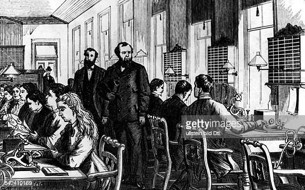 Detektiv Robert Allan Pinkerton enlarvt einen Telegrafisten der Western Union Illustration aus Pinkertons 'Criminal Remniscences' udnatiert