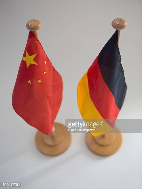 Deteriorated relationship The photo shows the flags of China and the Federal Republic of Germany