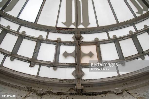 Deterioration to the interior of one of the four faces of the Great Clock is pictured ahead of the planned renovation work on the Elizabeth Tower on...