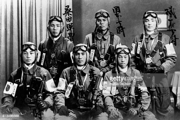 Determination and pride show in the faces of young Japanese pilots trained as kamikaze flyers. These suicide pilots crashed planes loaded down with...