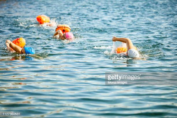 determined and sporty women swimming in sea - sea swimming stock photos and pictures