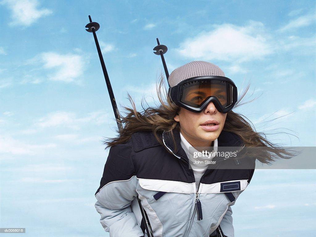 Determined Female Skier : Stock Photo