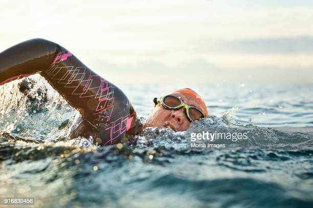 determined mature woman swimming in sea - wetsuit stock pictures, royalty-free photos & images