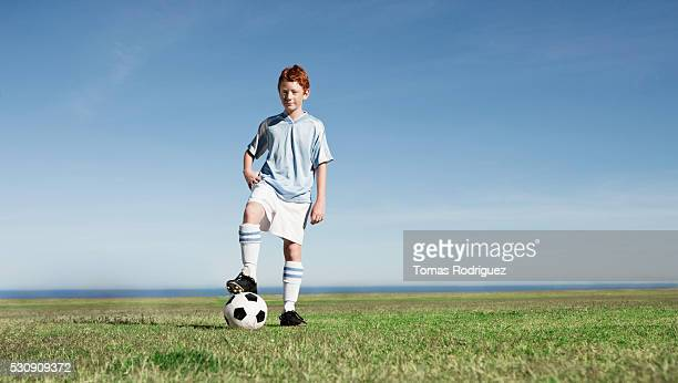 Determined soccer player
