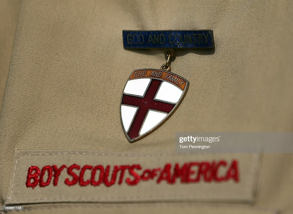 A detial view of a Boy Scout uniform on February 4, 2013 in Irving, Texas. The BSA national council announced they were considering to leave the decision of inclusion of gays to the local unit level. U.S. President Barack Obama urged the organization to end a ban on gays.