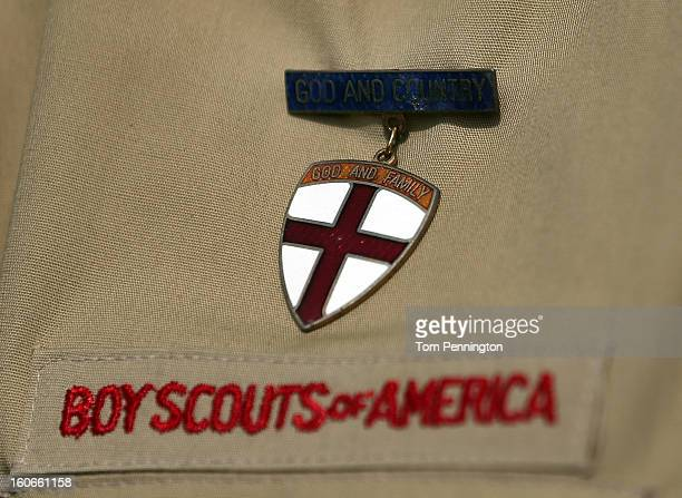 A detial view of a Boy Scout uniform on February 4 2013 in Irving Texas The BSA national council announced they were considering to leave the...