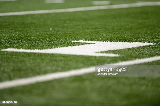 Detial view of the 10 yard line at Arizona Stadium on November 14 2015 in Tucson Arizona