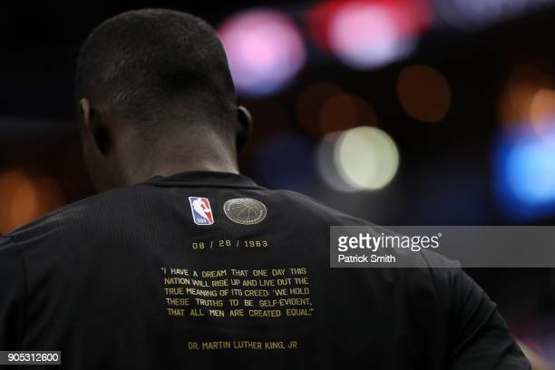 A detialed view of a Dr Martin Luther King Jr shirt before the Milwaukee Bucks play the Washington Wizards during the first half at Capital One Arena...