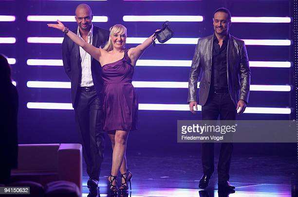 Detlef D Soost Michelle Leonard and Alex Christensen pose during the TV Show 'Popstars You I' semi final at the Koenigspilsener Arena on December 8...