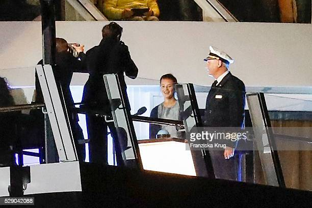 Detlef Harms and child actress and godmother Emma Tiger Schweiger attend the AIDAprima Cruise Ship Baptism during the 827th HAMBURG PORT ANNIVERSARY...