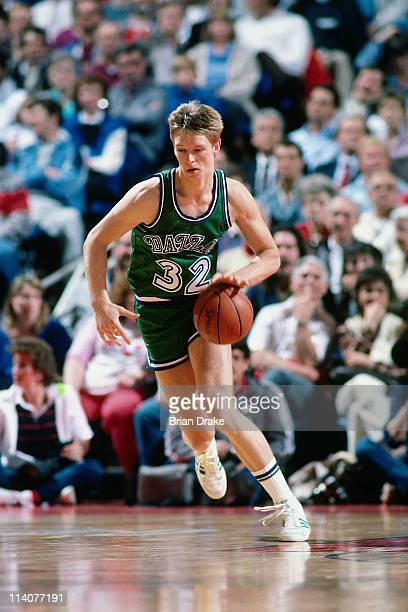 Detlef Schrempf of the Dallas Mavericks dribbles against the Portland Trailblazers at the Veterans Memorial Coliseum in Portland Oregon circa 1985...