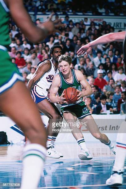 Detlef Schrempf of the Dallas Mavericks handles the ball against the Sacramento Kings on March 9 1986 at Arco Arena in Sacramento California NOTE TO...