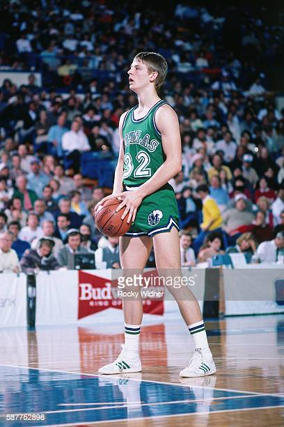 Detlef Schrempf of the Dallas Mavericks shoots a free throw against the Sacramento Kings on March 9 1986 at Arco Arena in Sacramento California NOTE...